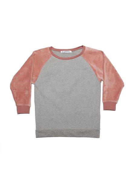 MINGO Velvet Sweater Grey/Raspberry