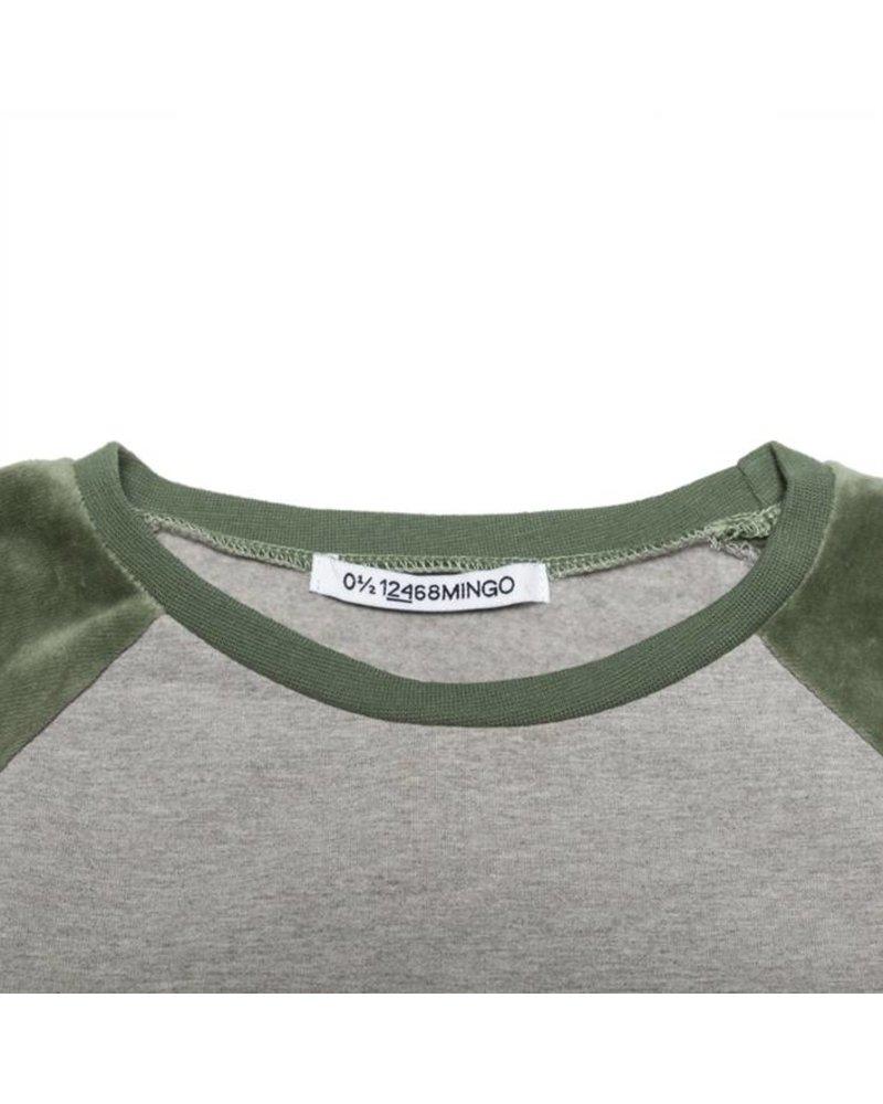MINGO Velvet Sweater Grey Melange/Duck Green