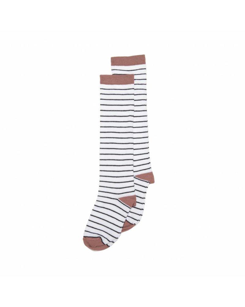 MINGO Knee Sock b/w Stripe Raspberry