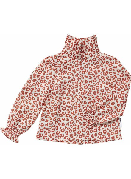 Maed For Mini Blouse Red Leopard AOP