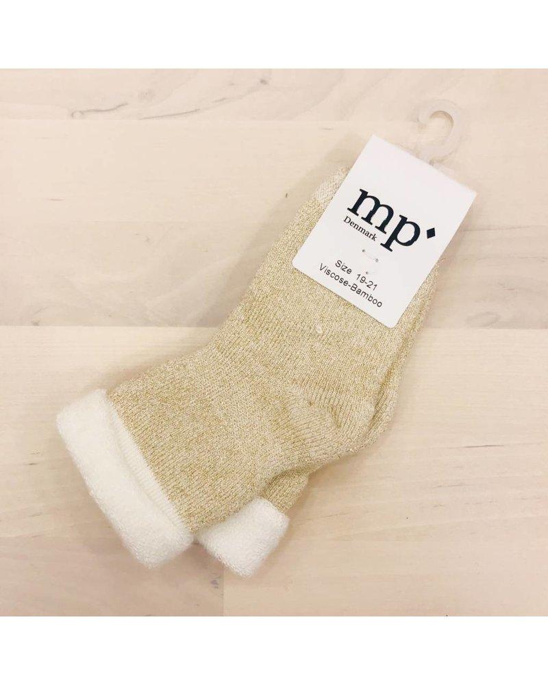MP Denmark Baby Socks Bambo Terry - Off white / gold lurex