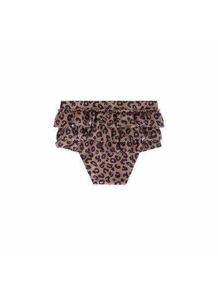 Maed For Mini Brown Leopard Ruffle Swim Shorts