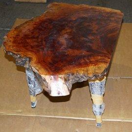 Kampfer Maser Tisch, Platte ca. 750 x 500 x 60 mm, Höhe 60 cm, 11409