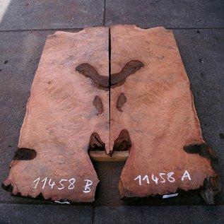 Redwood Maser Tischplatte, ca. 1850 x 650/650 x 55 mm, 11458 a+b