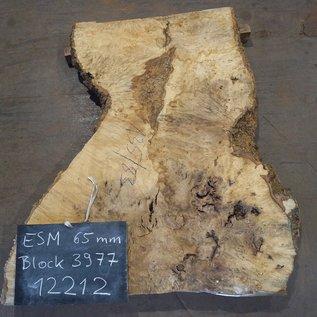 Esche Maser, Tischplatte, ca. 1350 x 1200/680/830 x 65 mm, 12212