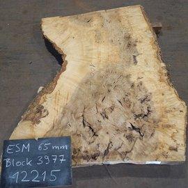 Esche Maser, Tischplatte, ca. 1350 x 1320/760/1000 x 65 mm, 12215