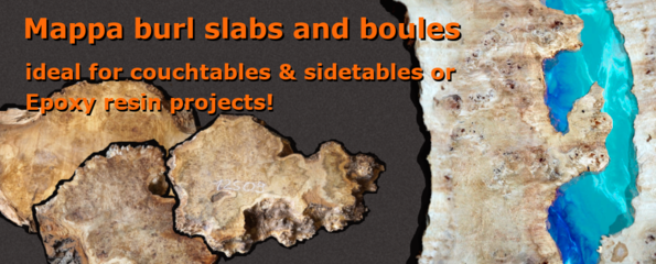 Mappa burl slabs for epoxy resin projects