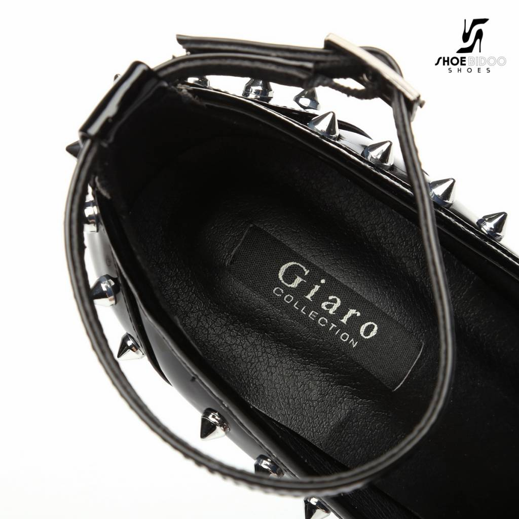 "Giaro Black shiny Giaro ""Galana"" platforms with spikes"