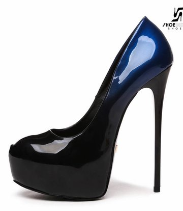 "Giaro Black and blue shiny Giaro ""Galana"" platforms pumps"