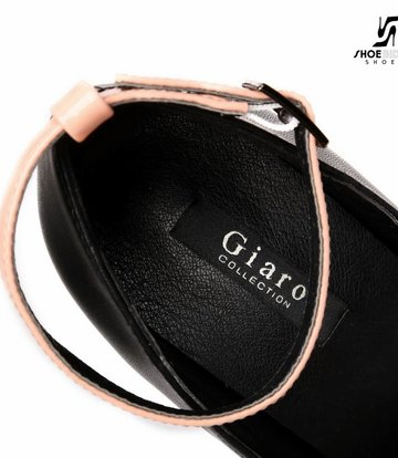 "Giaro Nude and Black shiny Giaro ""Galana"" platforms with straps"