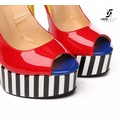 "Giaro Red & yellow shiny Giaro ""Galana"" platforms pumps"