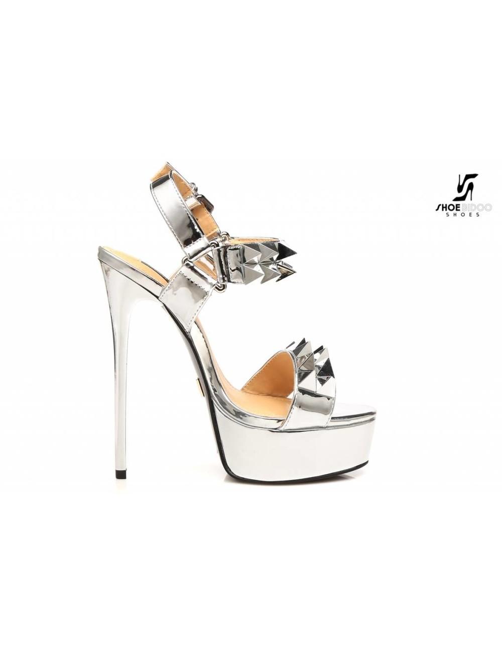 "Giaro Silver studded shiny strap ""Galana"" platform sandals"