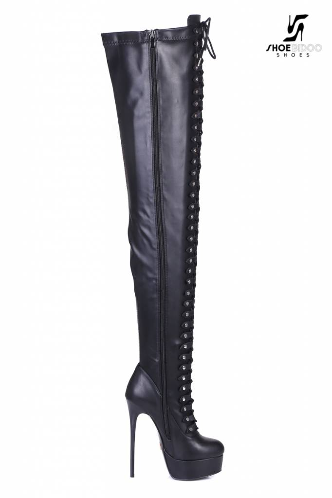 "Giaro Black lace-up ultra ""Galana MOUCHARDE"" thigh boots"