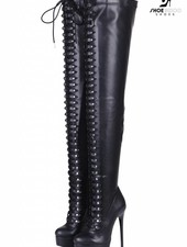 Giaro MOUCHARDE | BLACK MATTE | PLATFORM THIGH HIGH BOOT