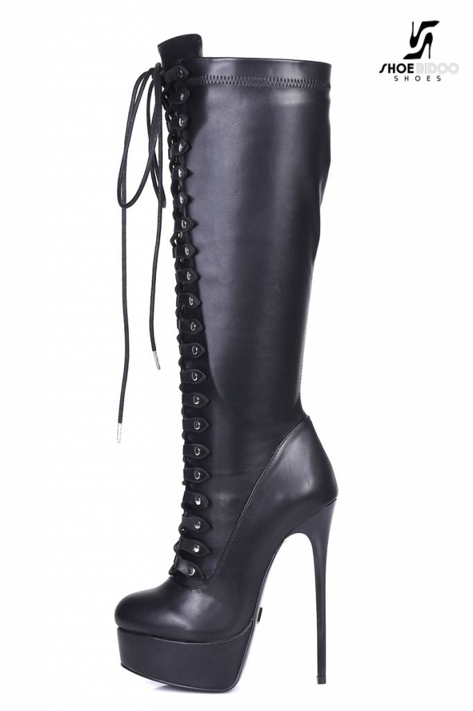 black lace up giaro high 16cm heeled knee boots