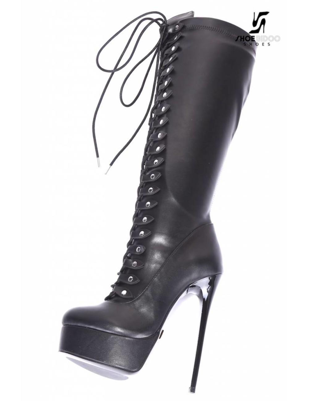 """Giaro Black lace-up ultra """"Galana MAHAUTE"""" knee boots"""