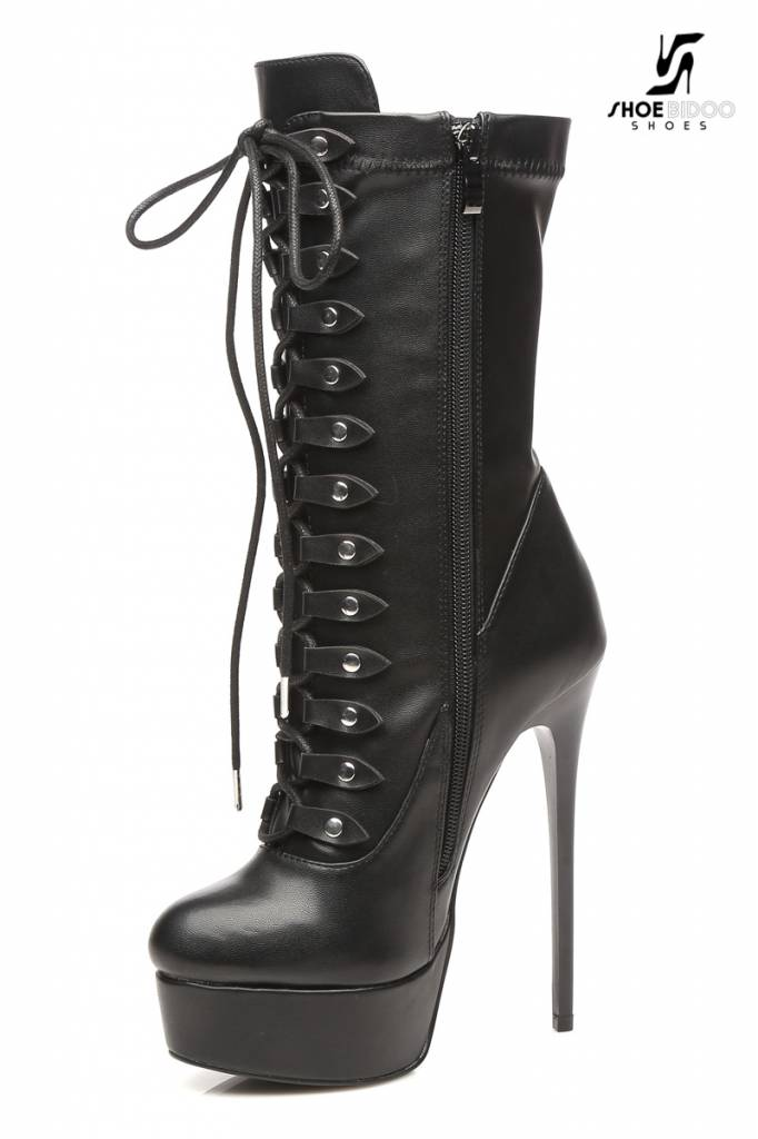 black lace up giaro high 16cm heeled ankle boots