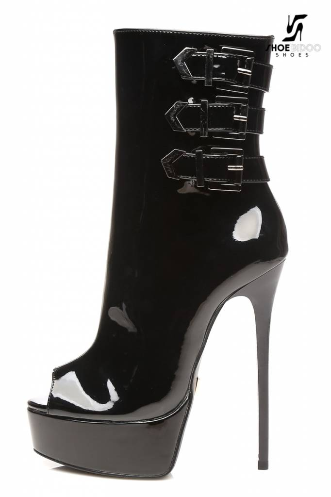 "Giaro Black shiny ""Galana"" designer ankle boots with open toe and belts"