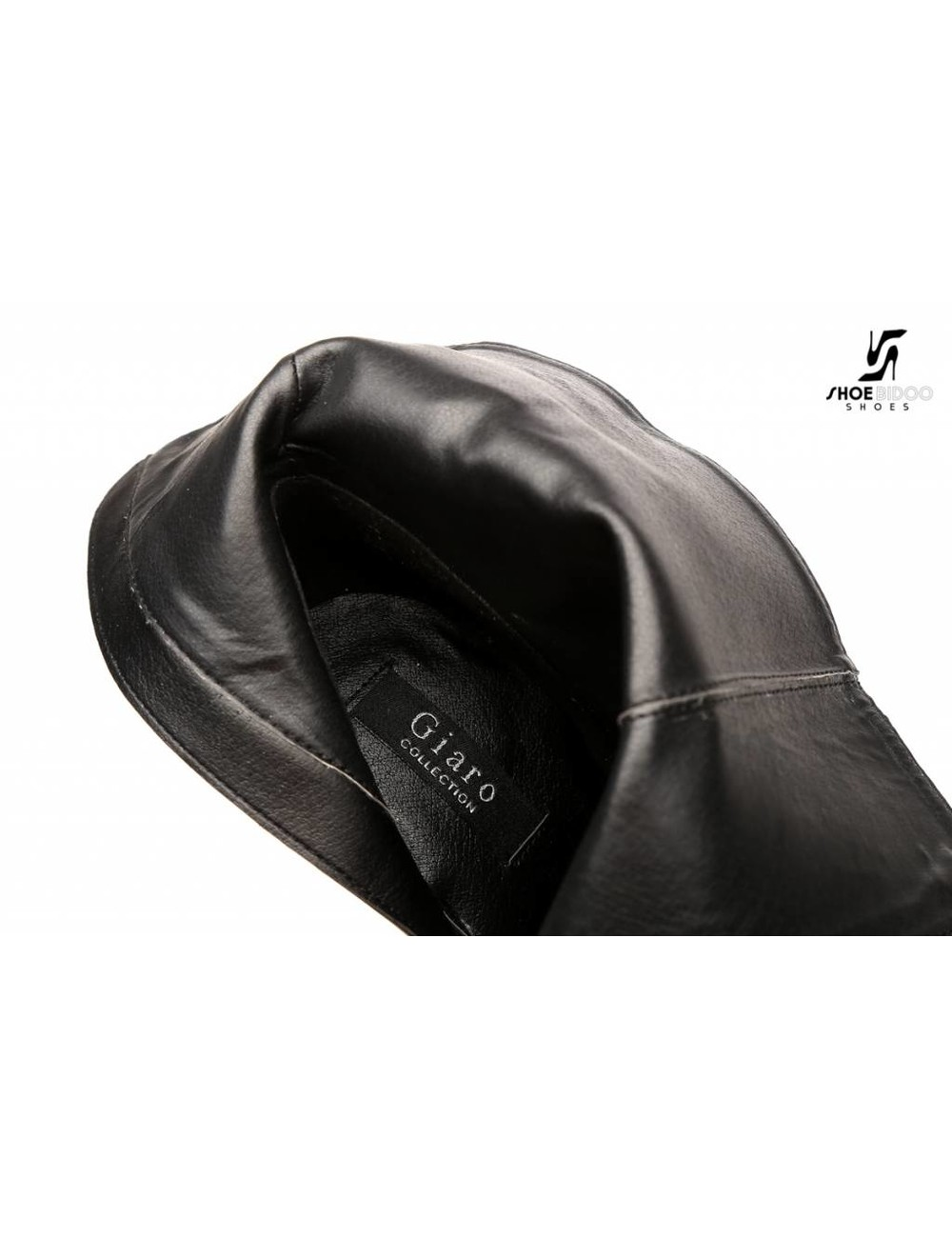 """Giaro Black shiny """"Galana"""" designer ankle boots with open toe and belts"""