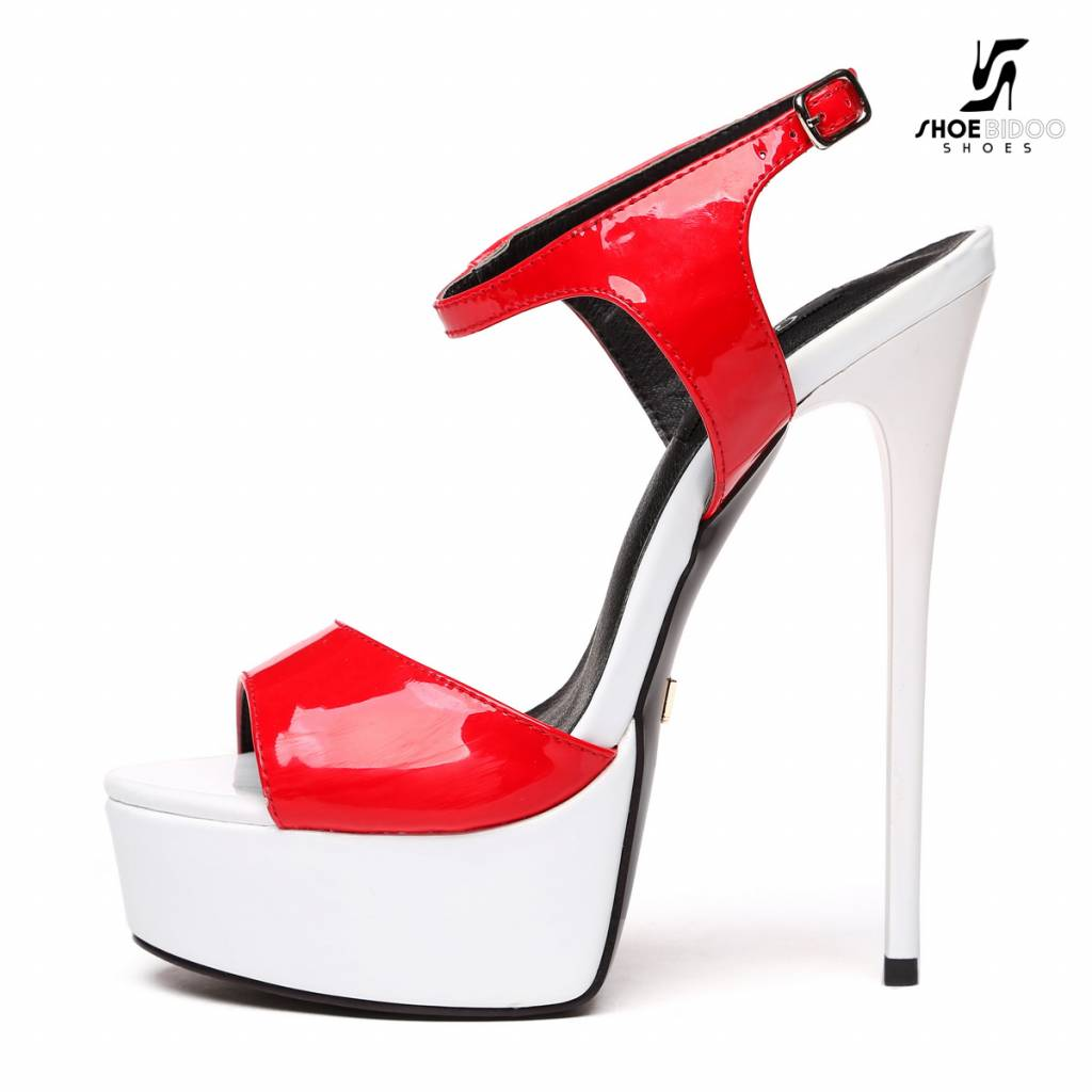 "Giaro Red & white shiny T-strap ""Galana"" platform sandals"