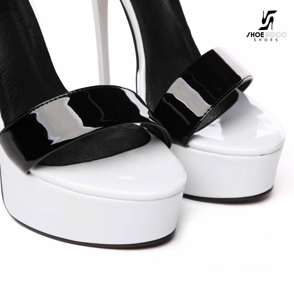 "Giaro Black & white shiny double-strap ""Galana"" platform sandals"