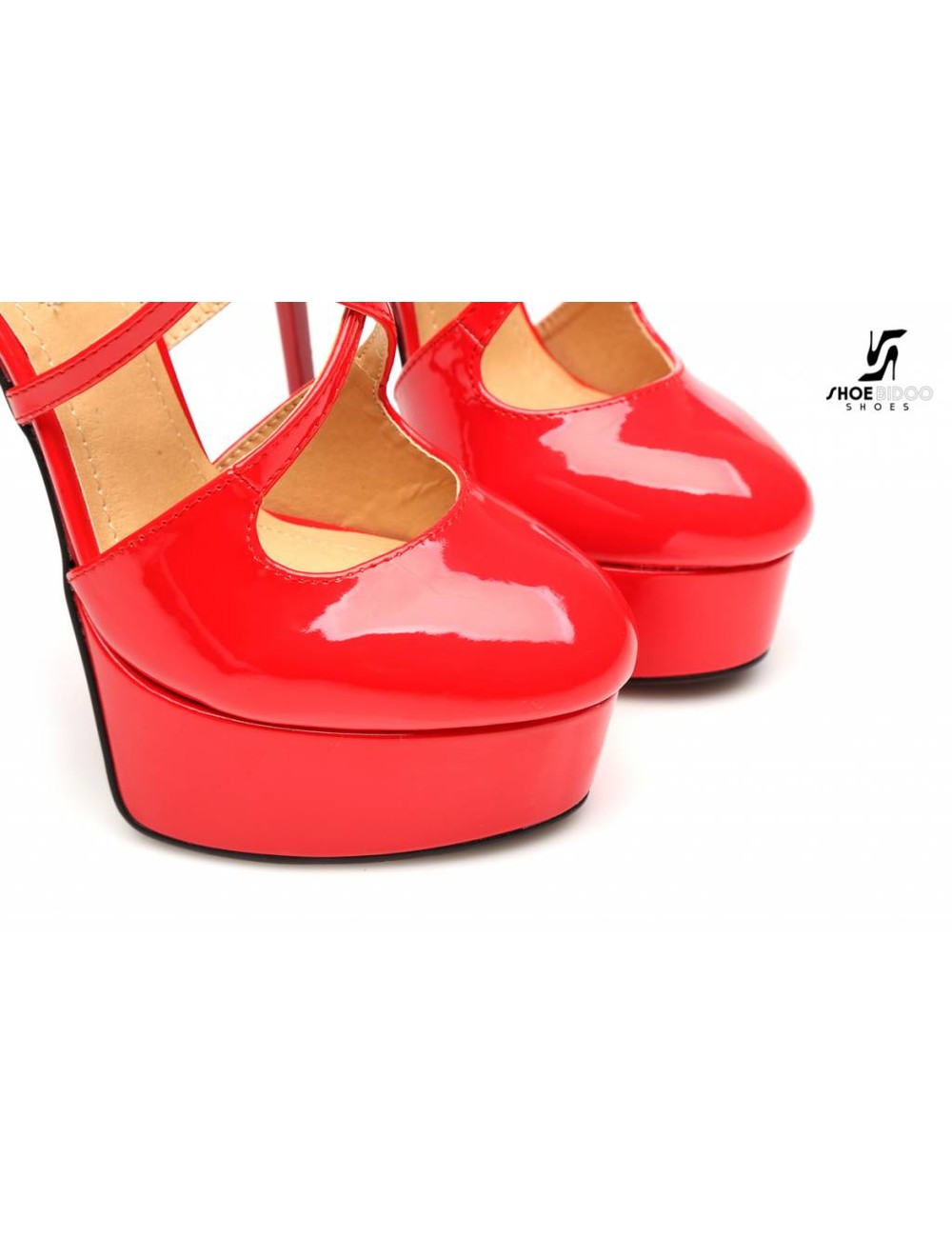 "Giaro Red shiny Giaro ""Galana"" strappy platform pumps"