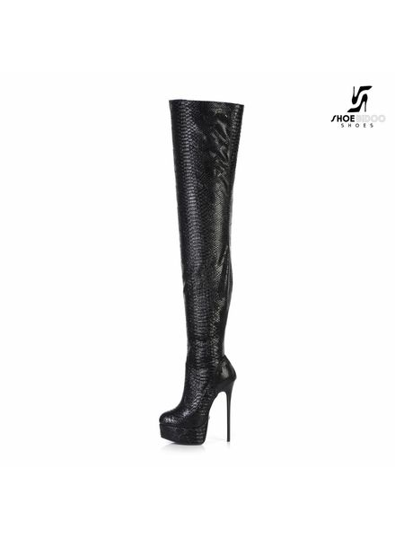 Giaro GALANA 1004 | BLACK SNAKE | THIGH HIGH BOOT