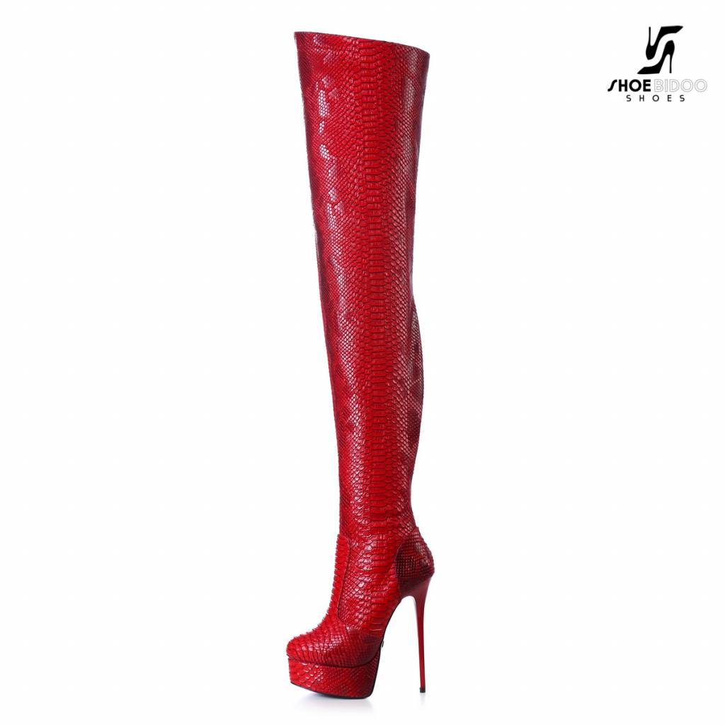 532af2b58c3 Red snake Giaro high 16cm heeled thigh boots - Shoebidoo Shoes ...