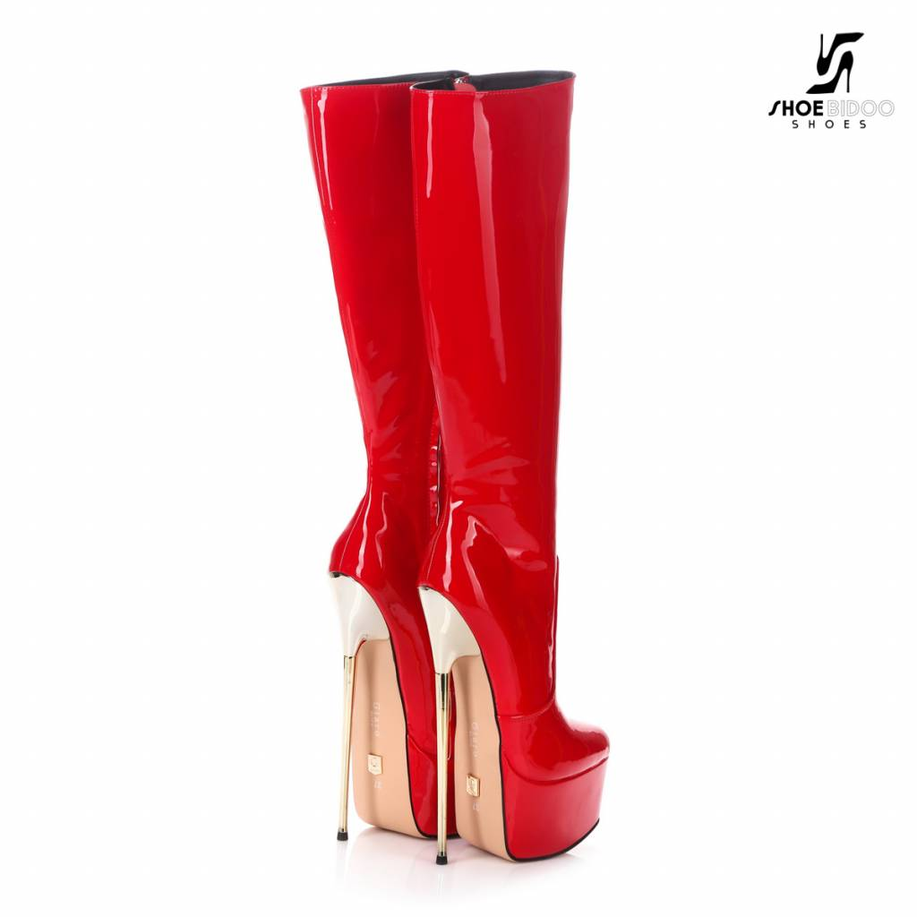 Giaro Red shiny  Giaro ultra Fetish knee boots with gold heels