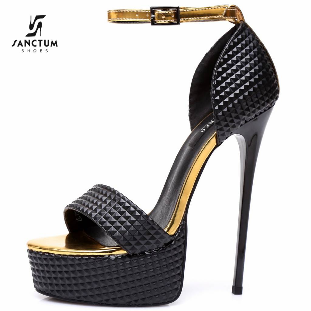 "Giaro Black & gold 3D Giaro ""Galana"" sandals"