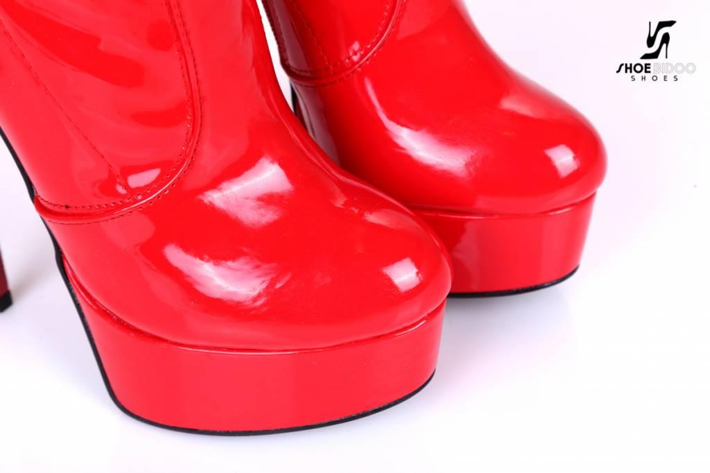 Giaro Rode platform lak dijlaarzen met ultra hoge hakken