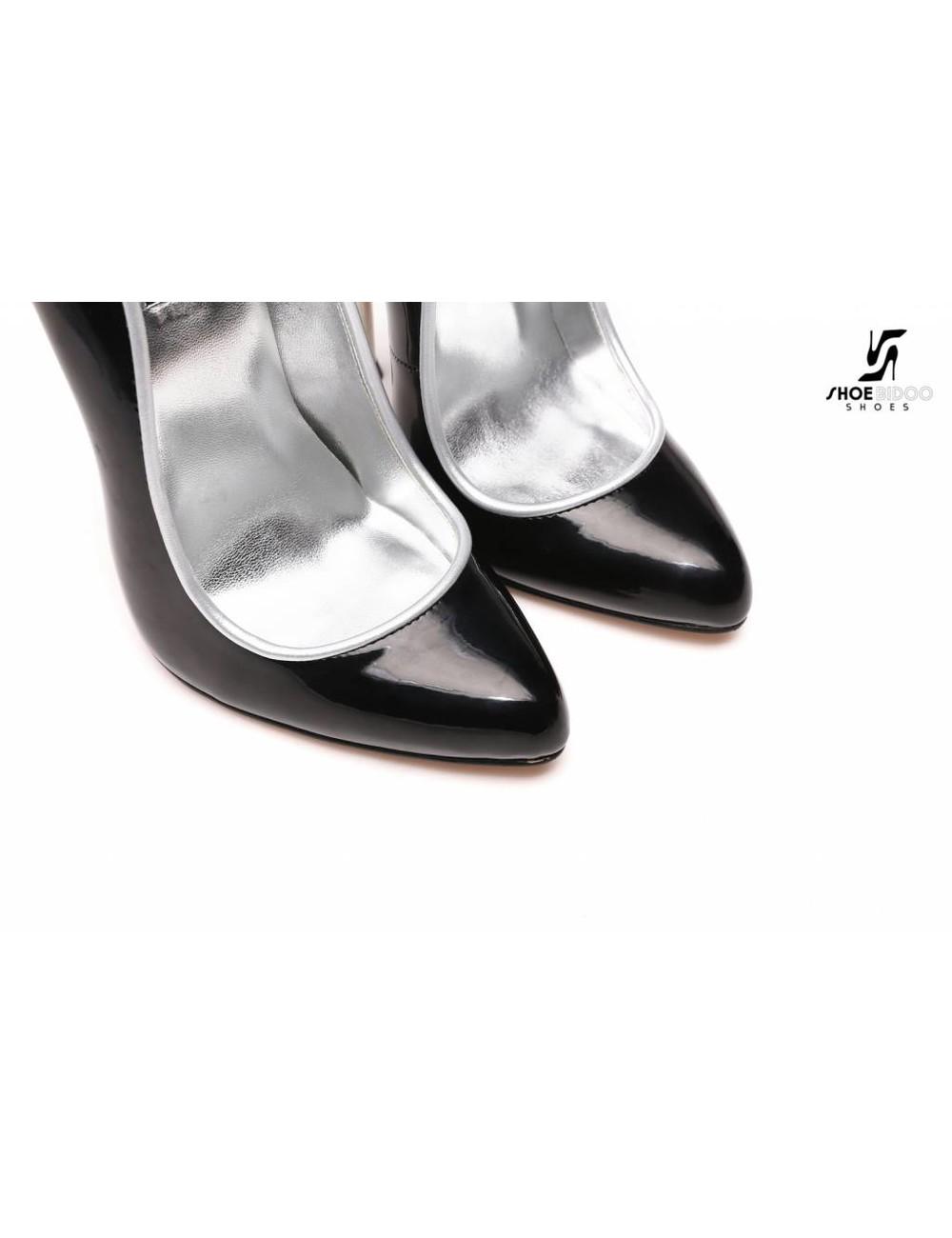 Giaro Zwarte patentpumps met ultrahoge zilveren metalen hakken