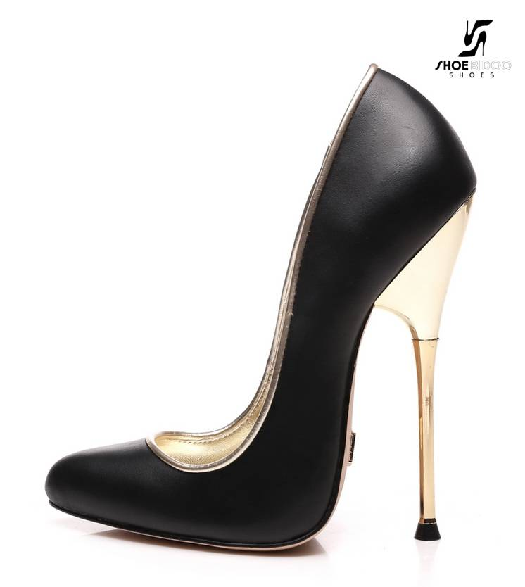 Giaro Black fetish pumps with ultra high gold metal heels