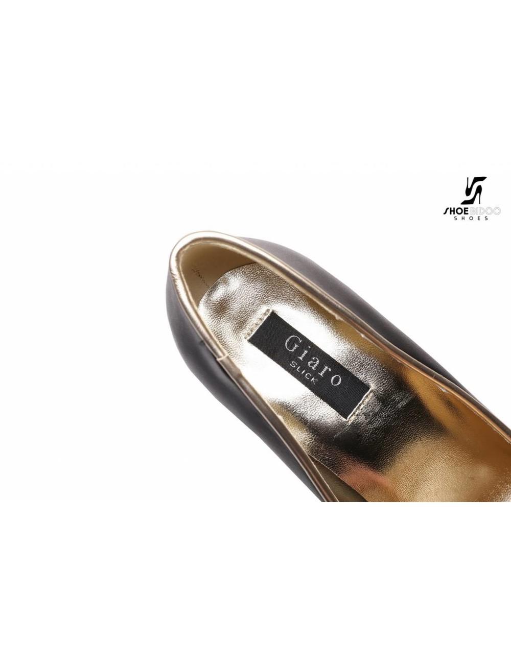 Giaro Zwarte fetish pumps met ultra hoge gouden metalen hakken