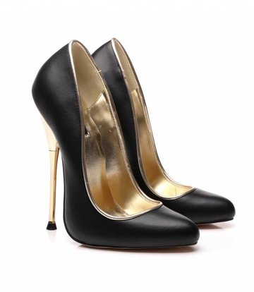 Giaro Schwarze fetish pumps mit ultra hohen gold metal heels-OUTLET