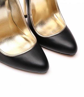 Giaro Black fetish pumps with ultra high gold metal heels