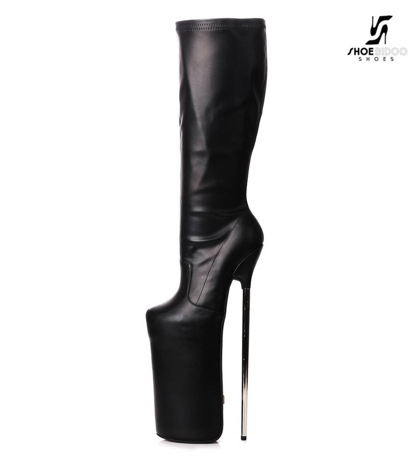 4378f571c03 Giaro Black fetish monster knee boots with ultra high silver metal heels ...