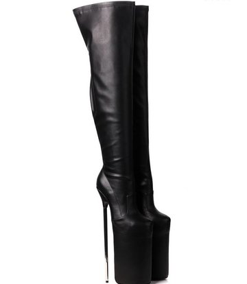 Giaro Black fetish monster thigh boots with ultra high silver metal heels