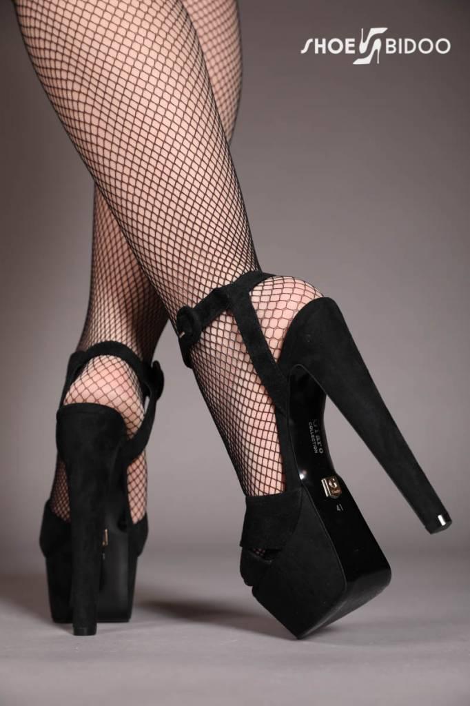 """Giaro Black velour Giaro """"Destroyer"""" sandals with anklestrap"""