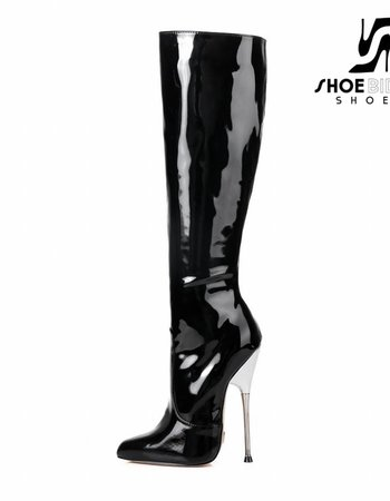 Giaro BE BRAVE | BLACK SHINY | SILVER METAL HEEL KNEE BOOTS