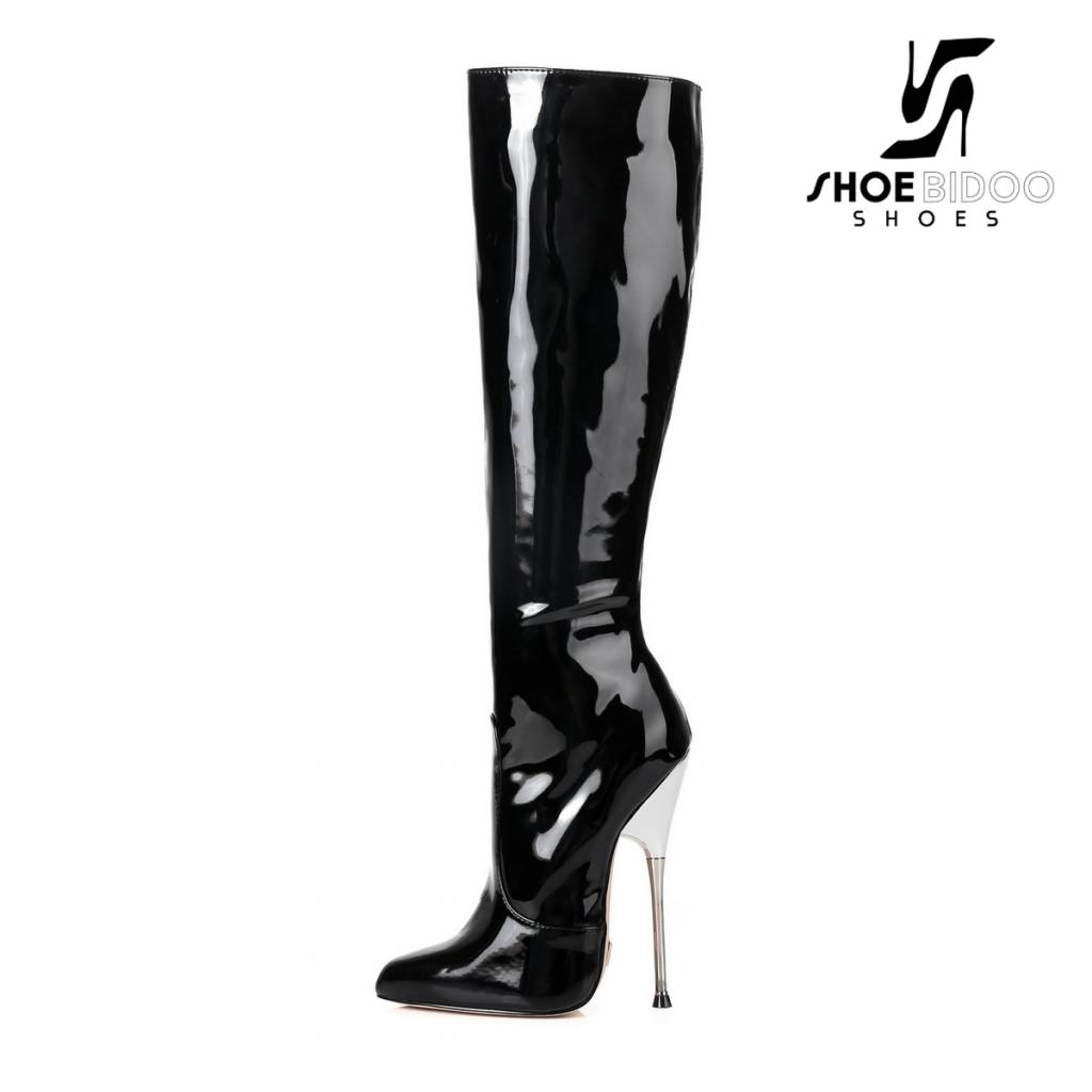 9130e8b4fa2 Black lacquer Giaro high silver metal heeled fetish knee boots