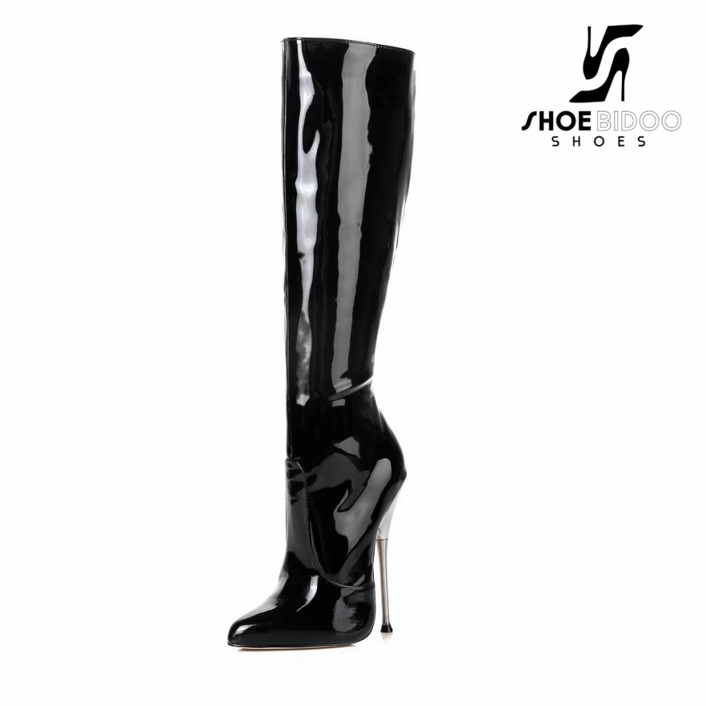 Giaro Black patent knee boots with ultra high silver metal heels