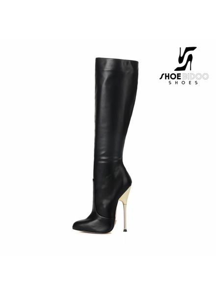 Giaro BE BRAVE | BLACK MATTE | GOLD METAL HEEL KNEE BOOTS