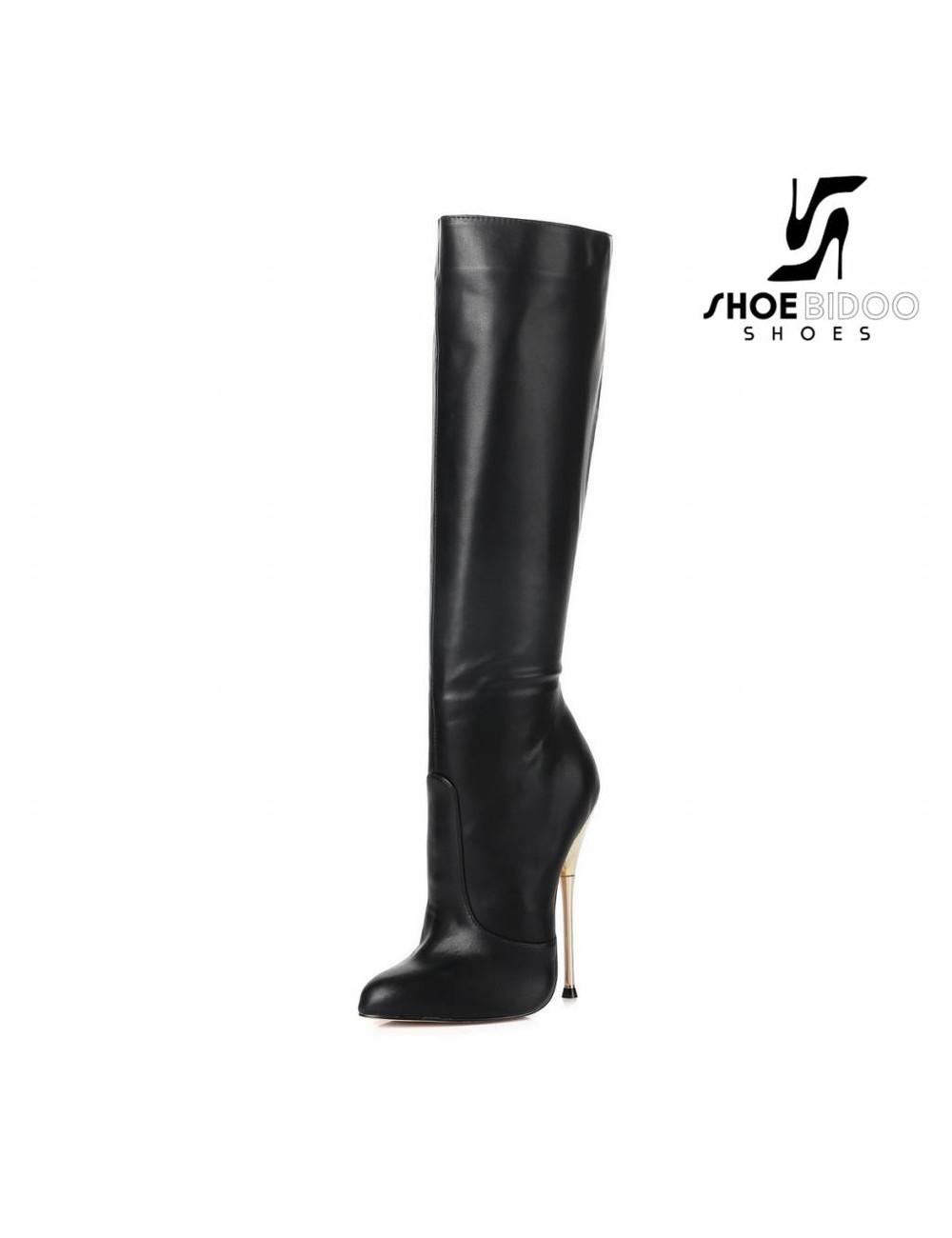 Giaro Zwarte knie laarzen met ultra hoge goud metalen hakken