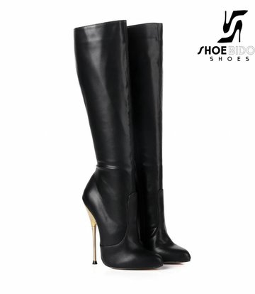 Giaro Black knee boots with ultra high gold metal heels