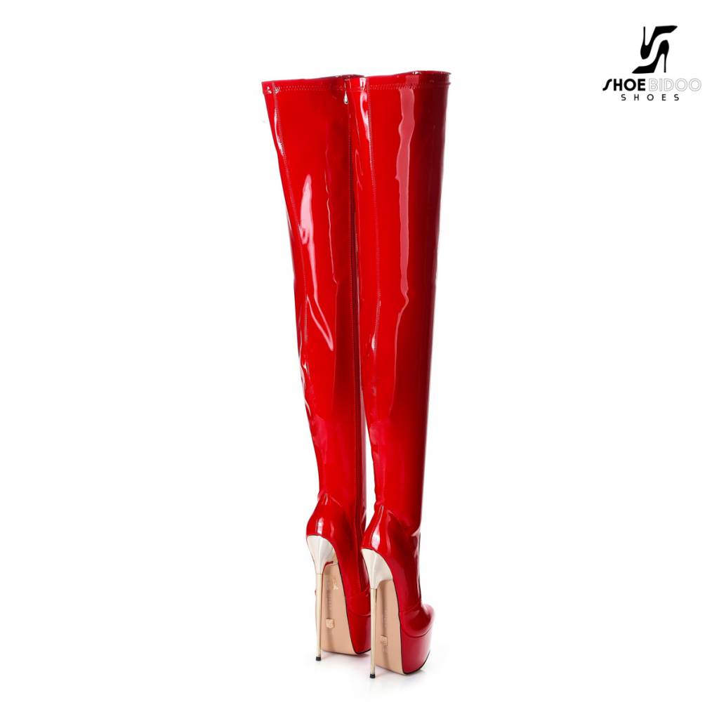 Giaro Red platform patent thigh boots with ultra high gold metal heels