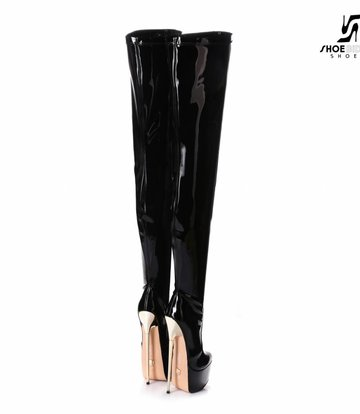 Giaro Black platform patent thigh boots with ultra high gold metal heels