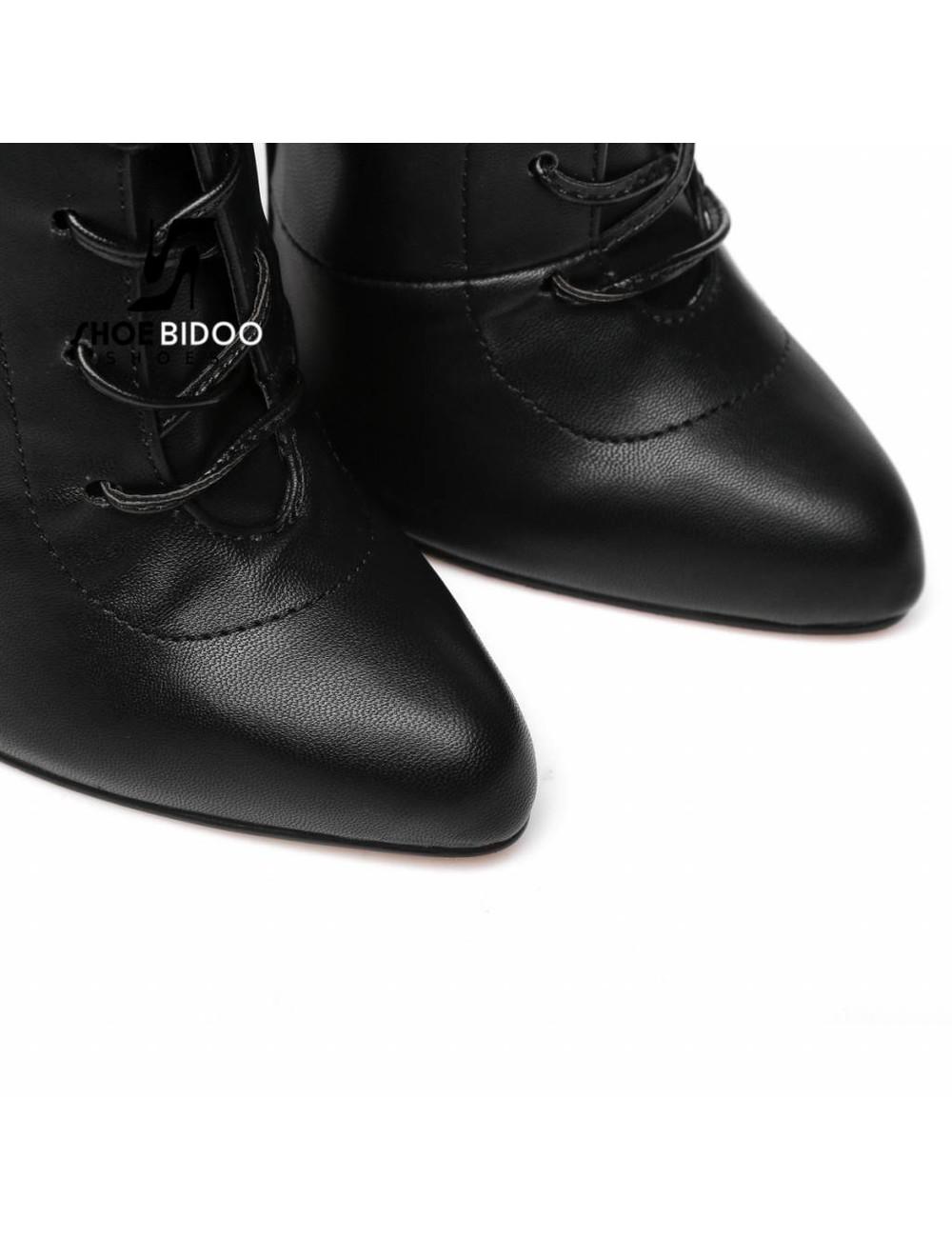 Giaro Schwarze Stiefeletten mit extrem hohen silbernen Metallabsätzen und Schnürung