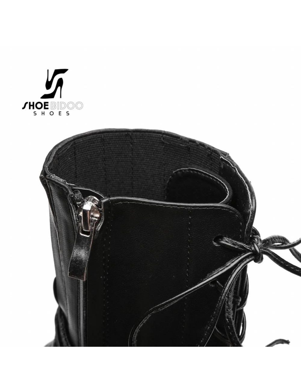 Giaro Black ankle boots with ultra high silver metal heels and lacing