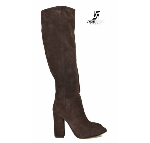 Sanctum Shoes DBL100 - ITALIENISCHE KNIESTIEFEL CHOCO SUEDE VELOR